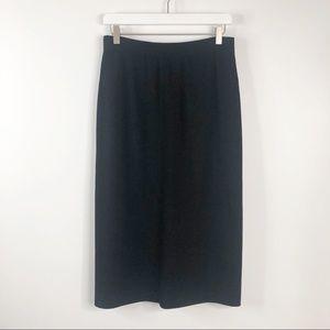 St John Basics Black Santana Knit Midi Skirt